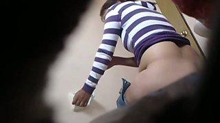 Toilet voyeur cam shows cool buttocks