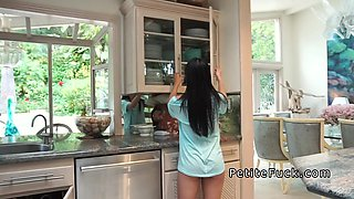Petite Asian rodes plumbers big dick in kitchen