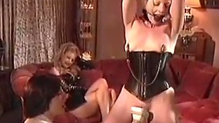 Pierced BDSM dykes in leather play domination