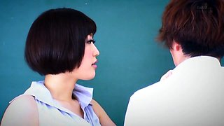 Sensual Asian teacher in stockings can't resist a young cock