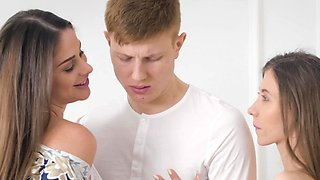 Buxom MILF and petite lass have fun with young man