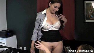 Female boss licks ass of super sexy lesbian secretary Carmen Valentina