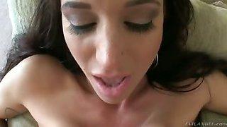 Gia DiMarco jacks off Jonni\'s huge dick with her milk bags