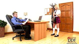 Bad schoolgirl punished & BJ!