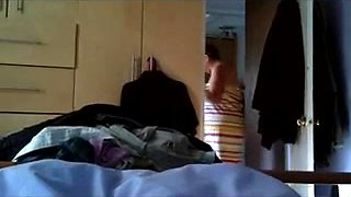 Catching my BBW mature wife on hidden cam in the bedroom