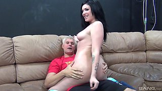 Smoking hot Andy San Dimas can't be pleased with only a vibrator