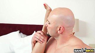 Grabbing whore's arms wild dude fucks slut doggy hard for orgasm