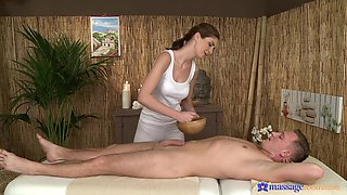 Charlotta gives a handjob to her client and they have sex