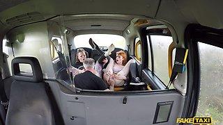 Back seat anal fun for two women in heats