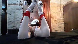 tied in white lingerie and high heels, vibed and throated