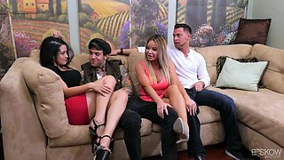Sizzling chick Katrina Jade is taking part in a crazy group sex scene