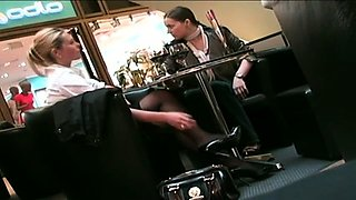 Slender blonde babe exposes her sexy long legs on hidden cam