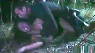 Sexy ass Brunette teased and gets forced gangbang in woods -