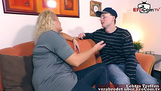 german granny fuck at porn casting with saggy tits