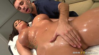 Oiled hottie Alison Tyler spreads her legs for a large manhood