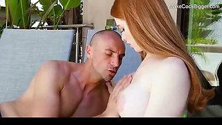 Busty redhead bitch gets creampied. Hot cute slut fucked