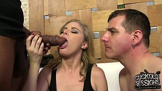 Dirty-minded short haired blonde Penny Pax works on BBC and humiliates her cuckold