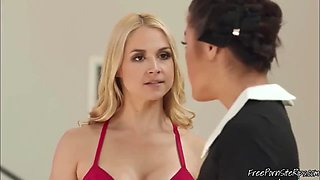 Rich Blonde Slut Wants To Have Lesbian Sex With Asian Maid