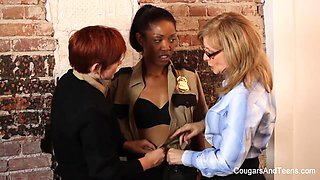 Sexy Ebony Babe Gets Dp'd By Two Strap-Ons - CougarsandTeens