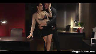 After work hardcore sex with a goddess in a skirt and blouse