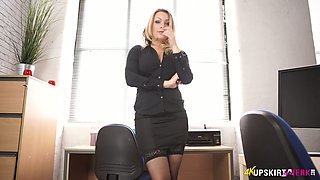 Lewd secretary in stockings Penny Lee is stripping in the office