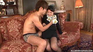 Japanese brunette MILF Saionji Reo gets her face cum covered