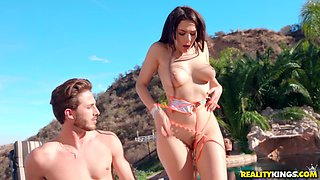 Amazing Valentina Nappi gets her tiny cunt banged outdoors