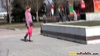 Amateur gal wets pink tights and panties