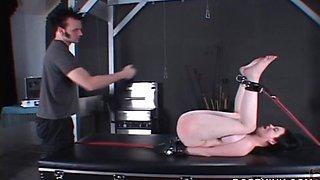 Round ass BDSM nympho taking a hardcore spanking