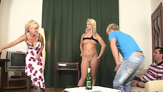 Old couple and young bitch arranged triple sex