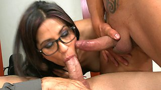 Nerdy dark haired slut with glasses takes two incredible dicks