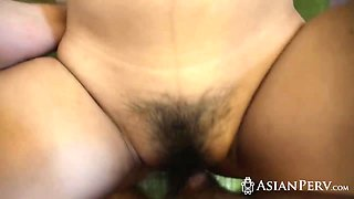 Innocent Asian girlfriend stripping panties for older horny dick lover