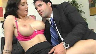Gorgeous Secretary Titty Fucks Her Boss In The Office