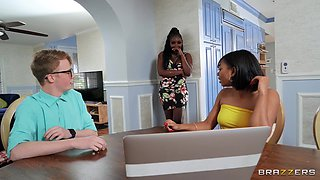 Interracial foreplay in the kitchen with Osa Lovely and her friend