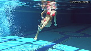 Sexy tanned babe in bikini Mary Kalisy shows spectacular underwater striptease