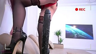 Asian Teen Girl Plays With Monstrous Black Dildo