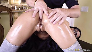 rubbing her under the table and fucking her hard