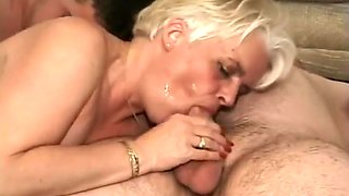 Horny Old Granny Takes On Four Guys