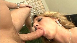 Exotic blonde displaying her big ass before swallowing cum after her anal is banged hardcore