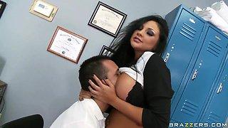 Sexy brunette Audrey Bitoni fucks with the gym teacher