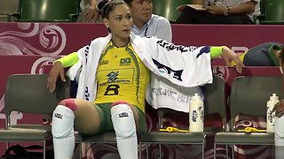 Fit volleyball player has her pussy imprinted on her shorts