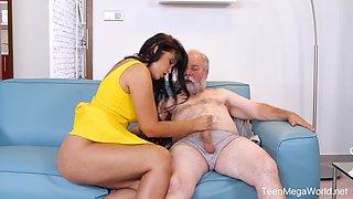 Beautiful sitter Jennifer Mendez gets intimate with a sick senior