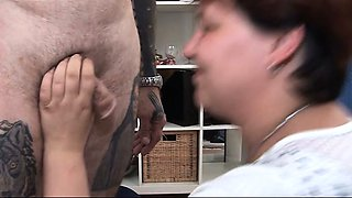 Tattooed skinny guy fucking his fat wife