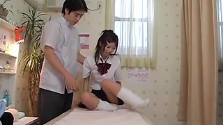 Skinny Japanese fucks to orgasm in voyeur massage video