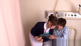 Big tits japan nurse licking his pole