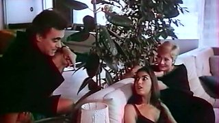 Insatiable German ladies on the couch having FFM threesome