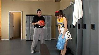 Slutty brunette cheerleader fucks the school coach