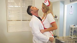 Busty trans nurse rides the doctors cock in the hospital