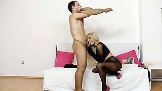 Hot blonde babe Nicky Angel pantyhose sex