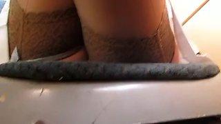 Stockings upskirt without panties